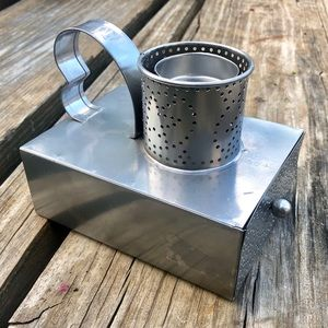 Punched Tin candle holder with drawer
